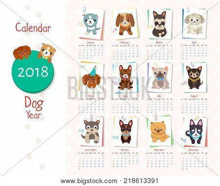 Calendar dog year set of images, circle and year inside, months with title and icon of puppy by them, vector illustration isolated on white background