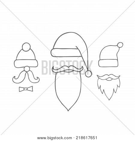 Santa hats, moustache and beards. Christmas elements for greeting design.