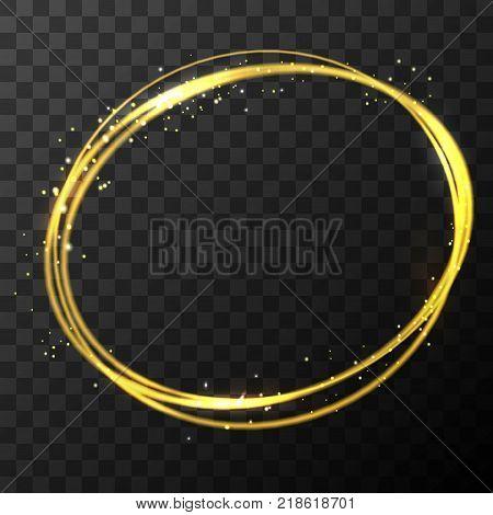 Vector stock gold glitter shine magic round circle frame. Glowing neon sparkle golden border effect on dark transparent background. EPS 10