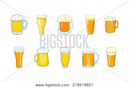 Beer glass icon set. Cartoon set of beer glass vector icons for web design isolated on white background