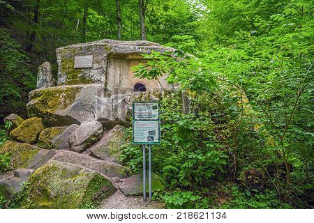 SOCHI, RUSSIA - JULY 5, 2015: Monolithic, ancient dolmen established in the Caucasus Mountains