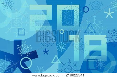 Winter sports games in PyeongChang 2018. Blue abstract background. Sports competitions in South Korea, February 2018. Design of banner, advertising posters for website or print. Vector illustration.