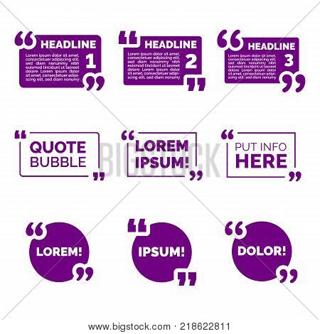 Speech bubbles, vector quote template boxes with quotation marks