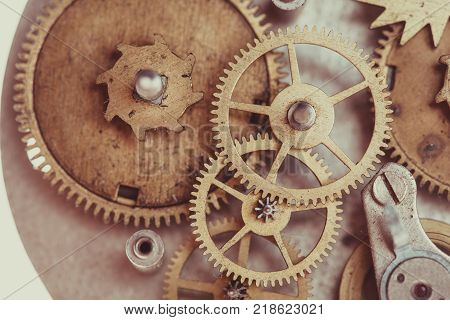 Vintage mechanical watches mechanism, close up gears