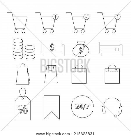 Set of Shopping Line Icons. Shppping cart, bag, credit card and money.