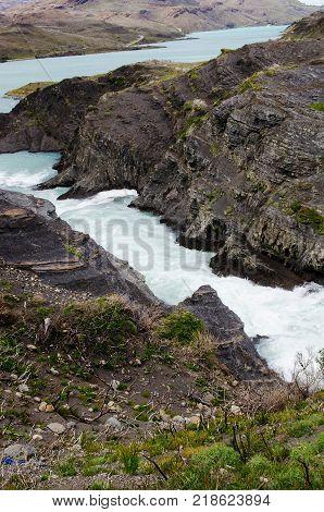 Rapids of the Salto Grande waterfall in Torres del Paine National Park between Lago Nordenskjöld and Lago Pehoé