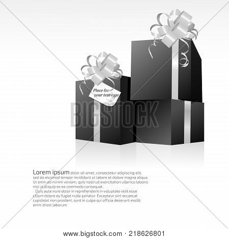 Three black gift celebrate cubes on a white background. You can use your design and advertising.
