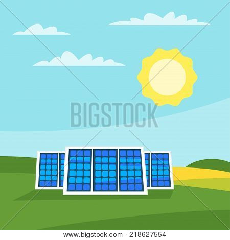 Vector cartoon style illustration of solar panels in the meadow. Renewable and sustainable energy. Environmental and ecology concept. Square composition.
