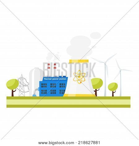 Vector cartoon illustration of modern nuclear power plant. Environmental pollution concept.