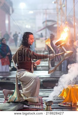 Ganga Maha Aarti Ceremony In Varanasi, India