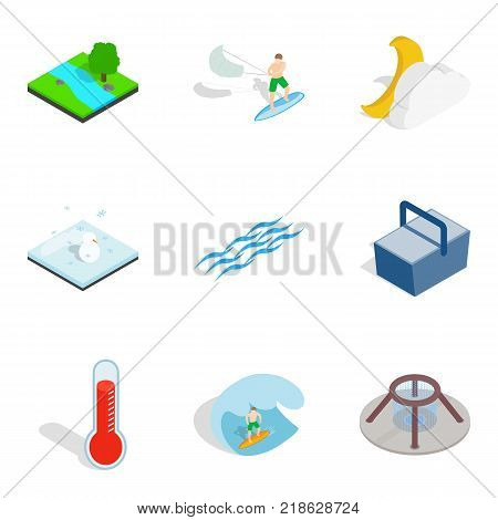Aqua icons set. Isometric set of 9 aqua vector icons for web isolated on white background