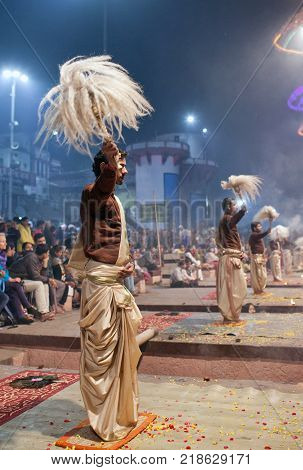 VARANASI, INDIA - JANUARY 3, 2016: Indian Brahmins conducts religious Ganga Maha Aarti ceremony (fire puja) at Dashashwamedh Ghat in Varanasi Uttar Pradesh India
