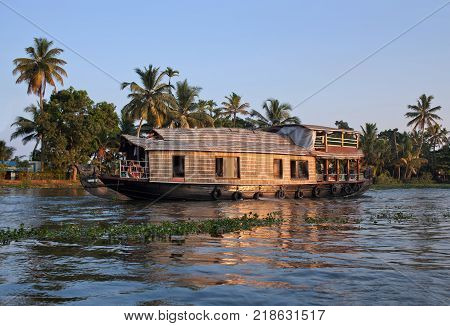 Houseboat on backwaters in Kerala South India
