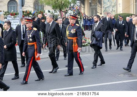 BUCHAREST ROMANIA - DECEMBER 16 2017: Grand Duke Henri of Luxembourg attends the funeral ceremony for the late Romanian King Michael I in front of the former Royal Palace. poster