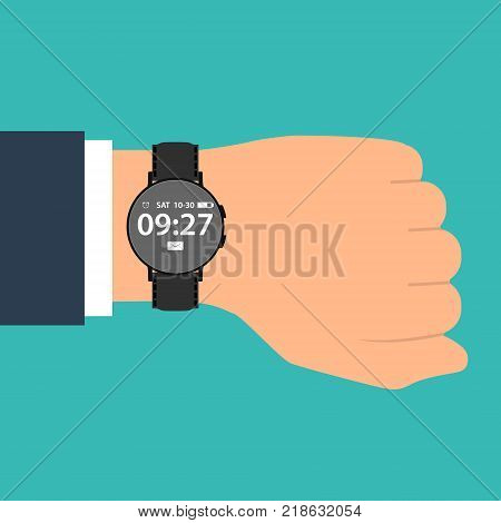 smart watch on the hand of businessman in suit. Time on wrist watch. Man with clock checks the time. Hand with clock isolated on background. Flat design, vector illustration.