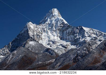 Ama Dablam Mount - view from Sagarmatha National Park, Everest region, Nepal