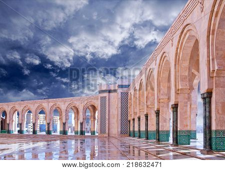 Arcade gallery at famous Hassan II Mosque in Casablanca, Morocco. The Mosque is the largest mosque in Morocco and the third largest mosque in the world.
