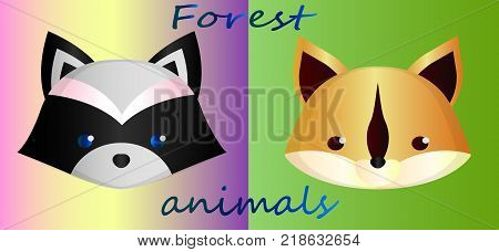 Cute forest animals on a gradient background - a raccoon and squirrel. collection of cute greeting cards - forest animals. Sketch of cartoon raccoon on color gradient background and squirrel on green gradient background