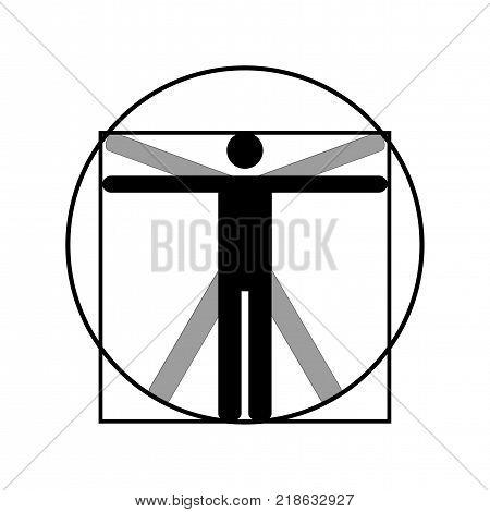 Leonardo da Vinci vitruvian man vector icon symbol design. Illustration isolated on white background. Leonardo da Vinci vitruvian man simplified sign. Symbol for anatomy