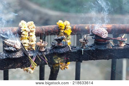 Candles In Dakshinkali Temple In Pharping, Nepal