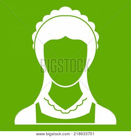 Cleaning household service maid icon white isolated on green background. Vector illustration