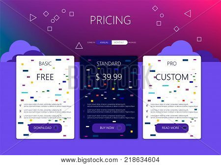 Banners for tariffs and price lists. Web elements. Plan the hosting. design for a web application.