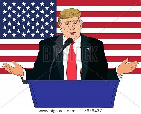 Dec 2017: US President Donald Trump speaking vector portrait on the US flag background