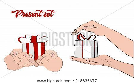 Presents set. Congratulation, hand drawign gift box in hands