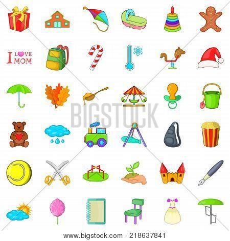 Mom celebration icons set. Cartoon style of 36 mom celebration vector icons for web isolated on white background