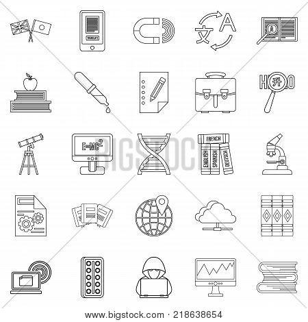 Academic degree icons set. Outline set of 25 academic degree vector icons for web isolated on white background