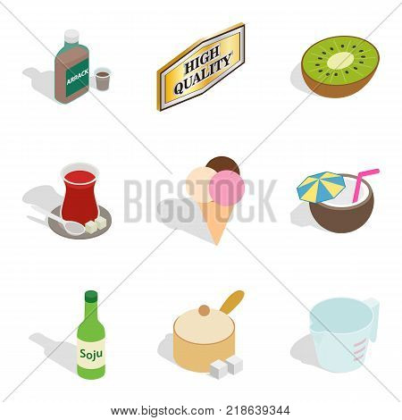 Beverage icons set. Isometric set of 9 beverage vector icons for web isolated on white background