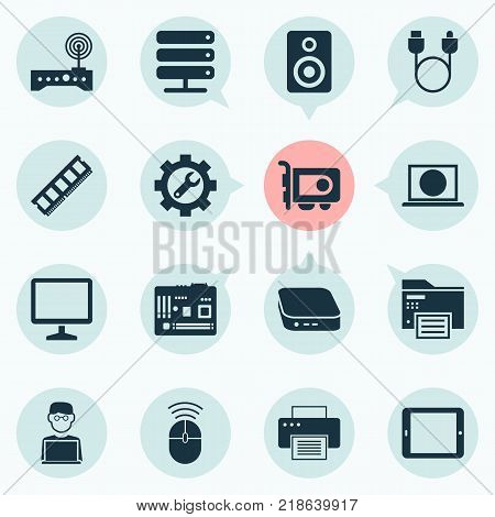 Gadget icons set with palmtop, printing machine, multifunction printer and other dynamic memory elements. Isolated vector illustration gadget icons.