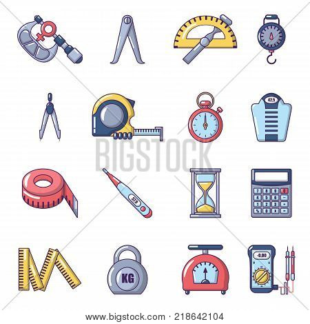 Measure precision icons set. Cartoon illustration of 16 measure precision vector icons for web