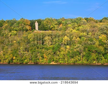 The Black Hawk Statue towering high above the Rock River at Lowden State Park in northern Illinois