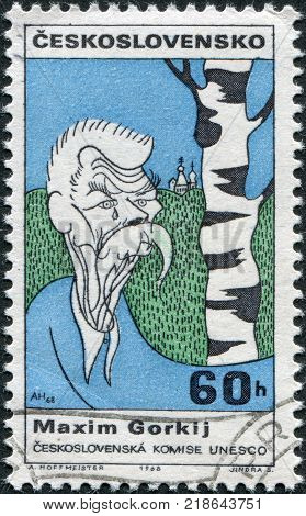 CZECHOSLOVAKIA - CIRCA 1968: A stamp printed in the Czechoslovakia shows a caricature Maxim Gorky circa 1968