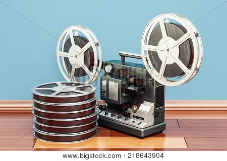 cinema projector with movie reels on the wooden floor. 3D rendering