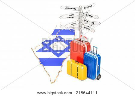 Israel travel concept. Israeli map with suitcases and signpost 3D rendering