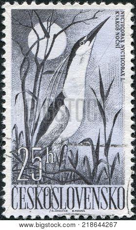 CZECHOSLOVAKIA - CIRCA 1960: A stamp printed in the Czechoslovakia, shows a bird Black-crowned Night Heron (Nycticorax Nycticorax), circa 1960