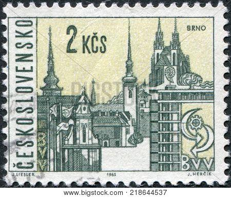 CZECHOSLOVAKIA - CIRCA 1965: A stamp printed in the Czechoslovakia shows the city of Brno circa 1965