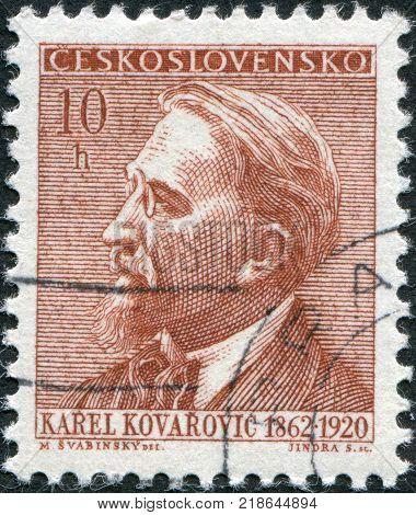 CZECHOSLOVAKIA - CIRCA 1962: A stamp printed in the Czechoslovakia shown Karel Kovarovic circa 1962
