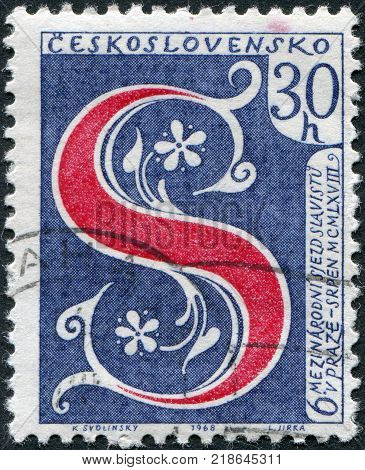 CZECHOSLOVAKIA - CIRCA 1968: Postage stamp printed in Czechoslovakia, is devoted to the 6th International Congress of Slavic Studies, shows the letter S - the symbol of Congress, circa 1968