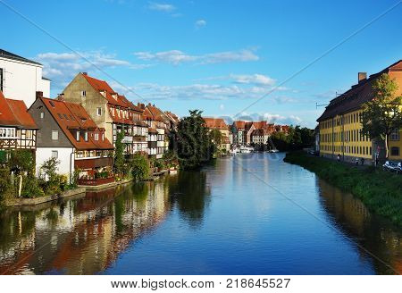 View of the river in Old Town Bamberg Germany