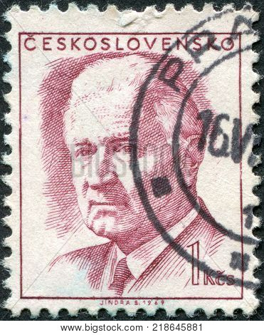 CZECHOSLOVAKIA - CIRCA 1969: A stamp printed in the Czechoslovakia shows President Ludvik Svoboda circa 1969