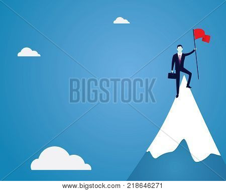 Vector illustration of business concept, businessman conquer obstacle, holding victory flag on top of mountain
