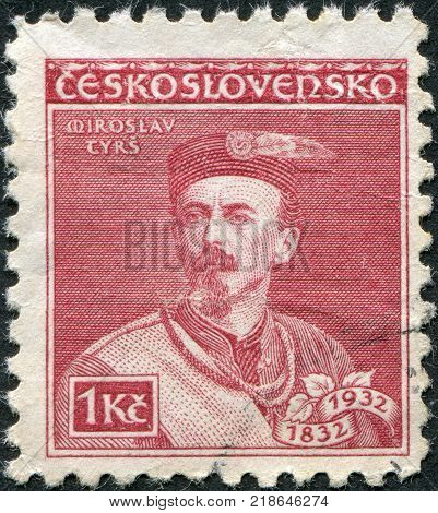 CZECHOSLOVAKIA - CIRCA 1932: A stamp printed in the Czechoslovakia is dedicated to the 100th anniversary of the birth Miroslav Tyrs founder of the movement