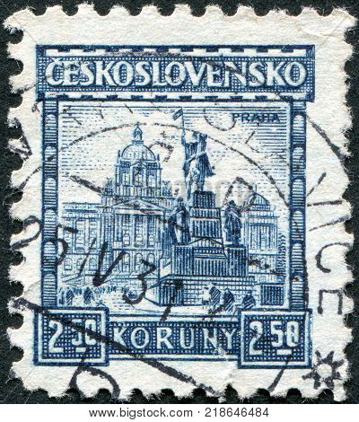 CZECHOSLOVAKIA - CIRCA 1929: A stamp printed in the Czechoslovakia shows Statue of St. Wenceslas and National Museum Prague circa 1929
