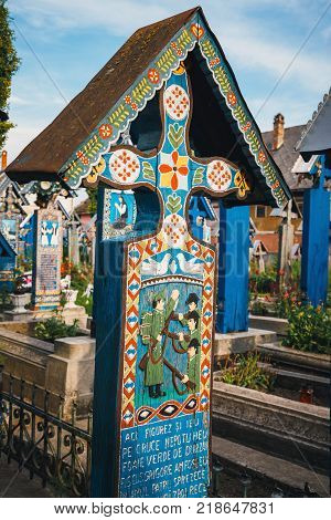 SAPANTA ROMANIA - 04 JULY 2015- The merry cemetery of Sapanta Maramures Romania. Those cemetery is unique in Romania and in the world