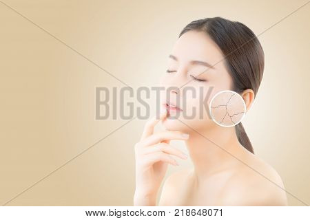 Skincare And Health And Cosmetics Concept - Beautiful Asian Young Woman Face With Wrinkles Over Circ