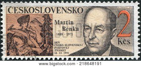 CZECHOSLOVAKIA - CIRCA 1991: A stamp printed in the Czechoslovakia shows a Slovak painter and illustrator Martin Benka circa 1991
