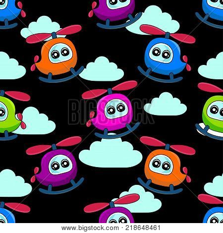 Cute Kids Helicopter Pattern For Girls And Boys. Colorful Helicopter On The Abstract Bright Backgrou